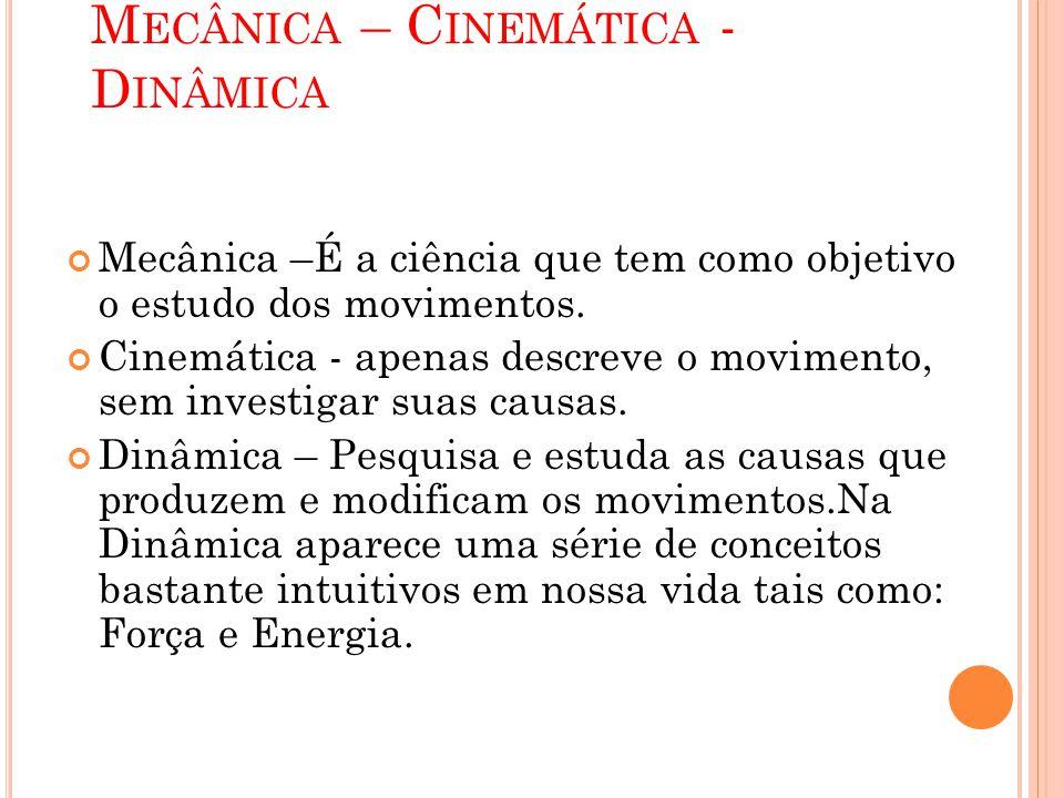 Mecânica – Cinemática - Dinâmica