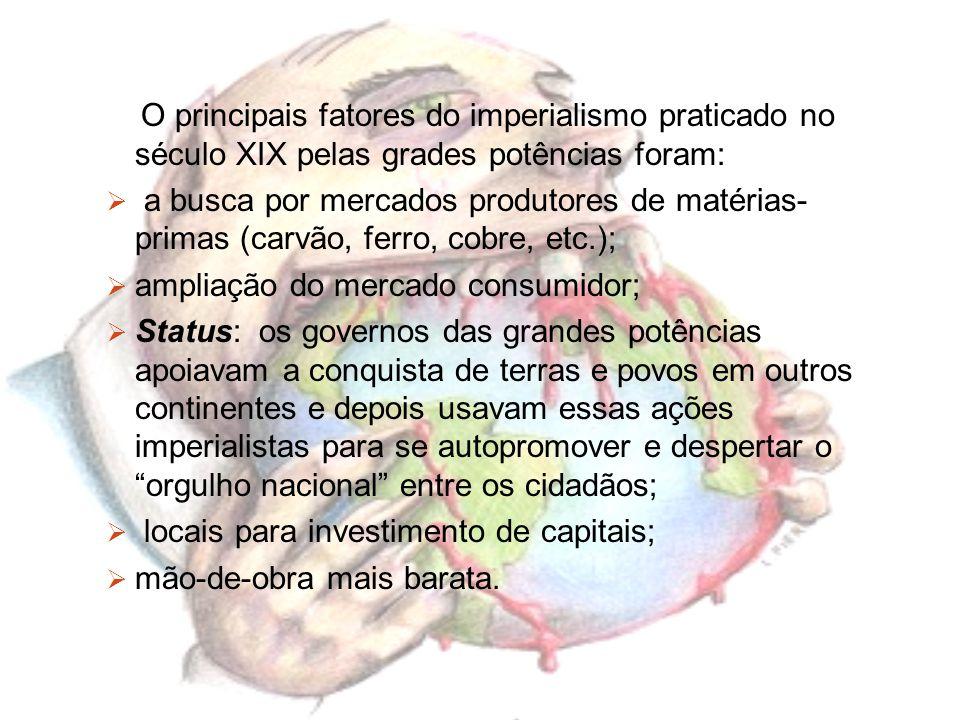 O principais fatores do imperialismo praticado no século XIX pelas grades potências foram: