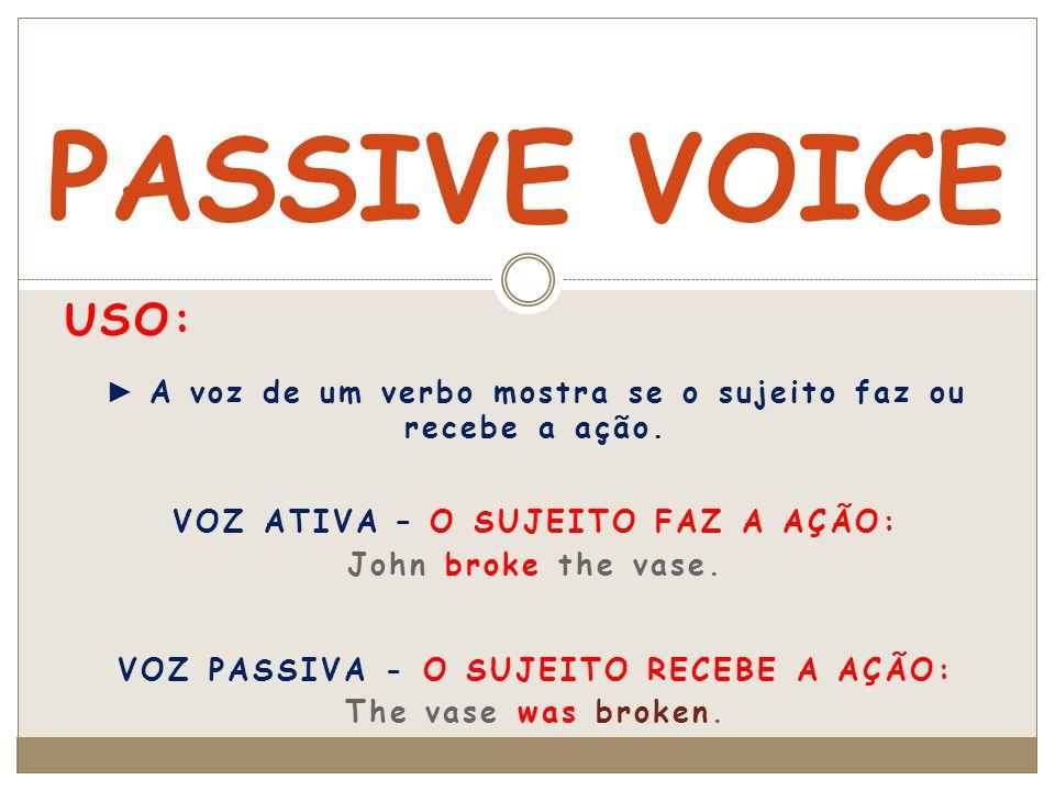 PASSIVE VOICE Uso: ► A voz de um verbo mostra se o sujeito faz ou recebe a ação. VOZ ATIVA – O SUJEITO FAZ A AÇÃO: