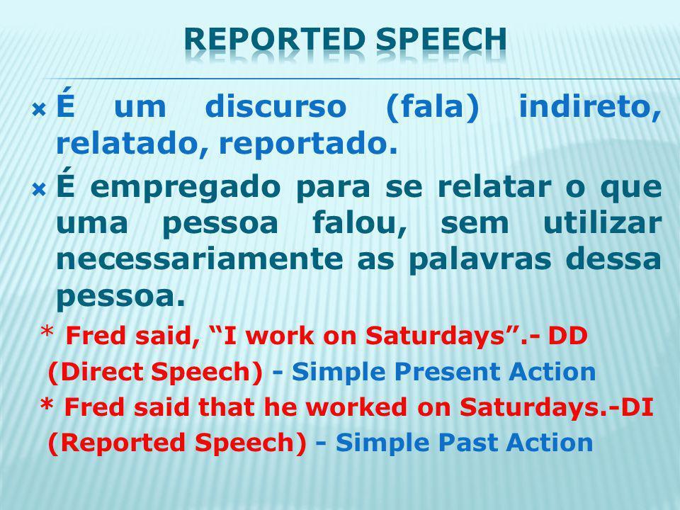 É um discurso (fala) indireto, relatado, reportado.