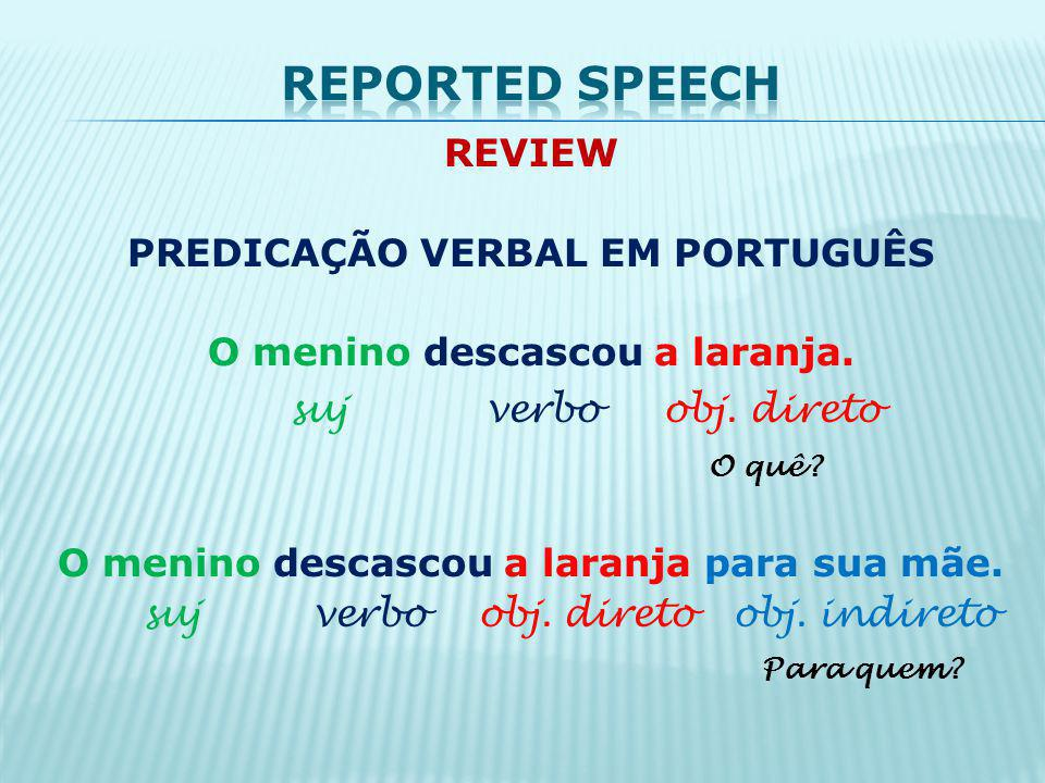 Reported speech suj verbo obj. direto
