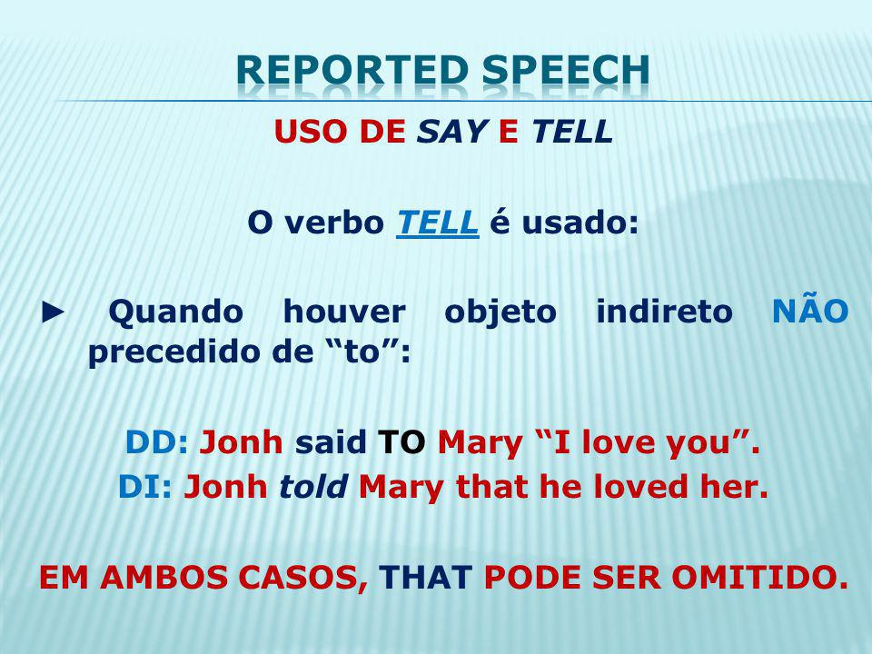 Reported speech USO DE SAY E TELL O verbo TELL é usado: