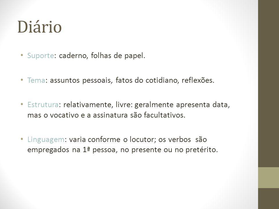 Diário Suporte: caderno, folhas de papel.