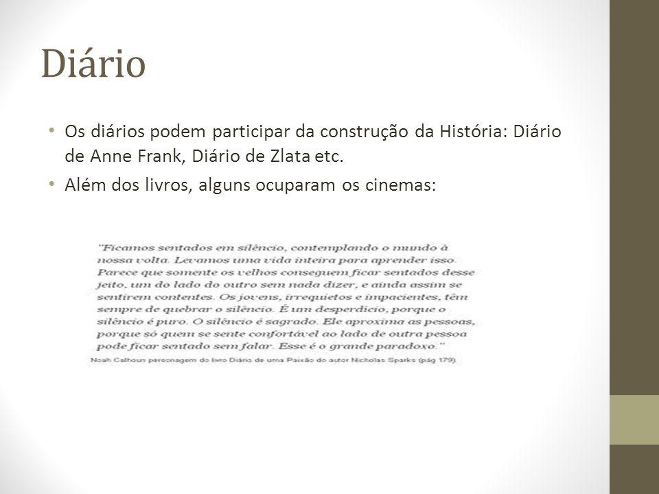 Diário Os diários podem participar da construção da História: Diário de Anne Frank, Diário de Zlata etc.