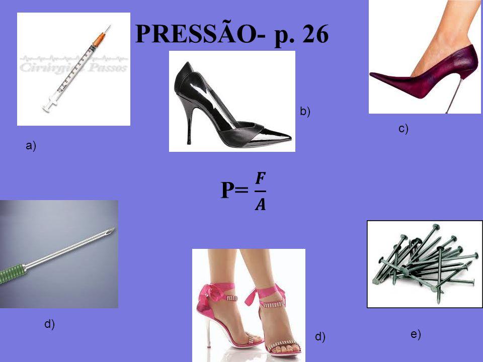 PRESSÃO- p. 26 b) c) a) P= 𝑭 𝑨 d) d) e) 3