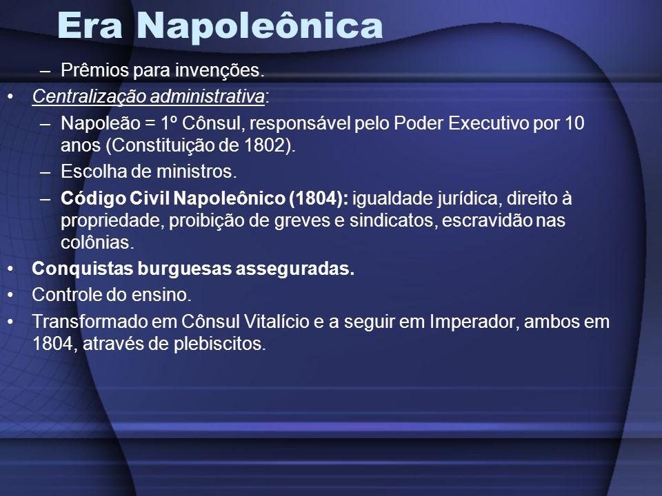 Era Napoleônica Prêmios para invenções. Centralização administrativa: