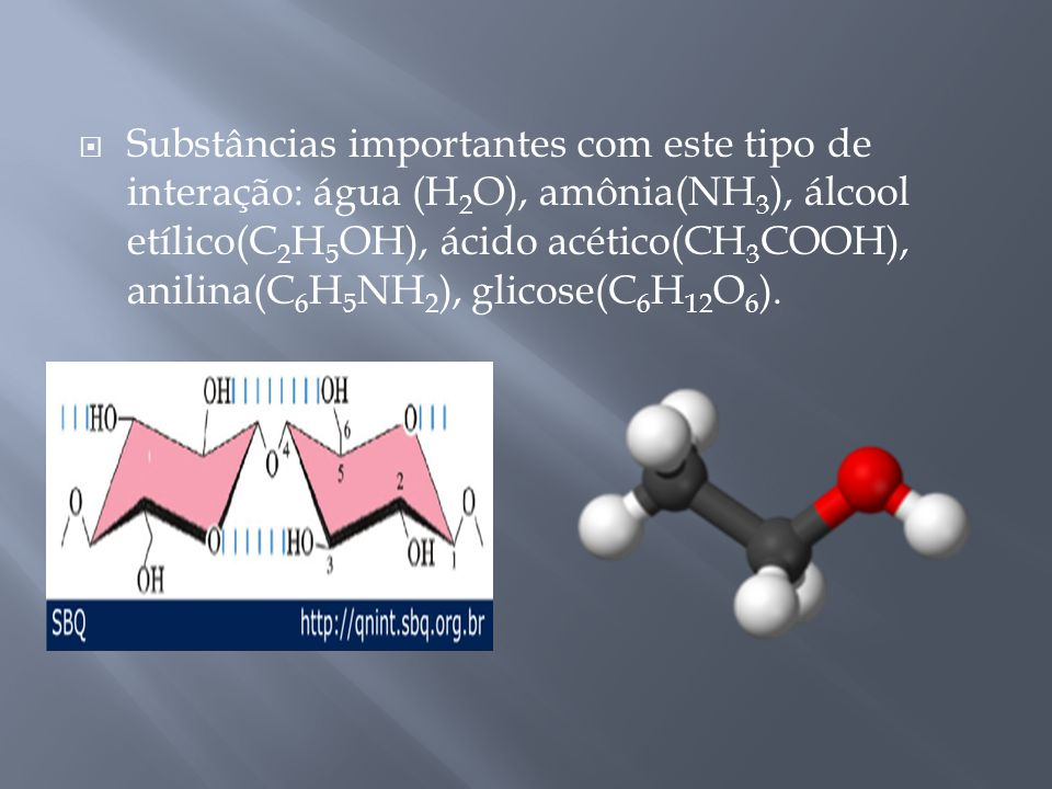 Substâncias importantes com este tipo de interação: água (H2O), amônia(NH3), álcool etílico(C2H5OH), ácido acético(CH3COOH), anilina(C6H5NH2), glicose(C6H12O6).