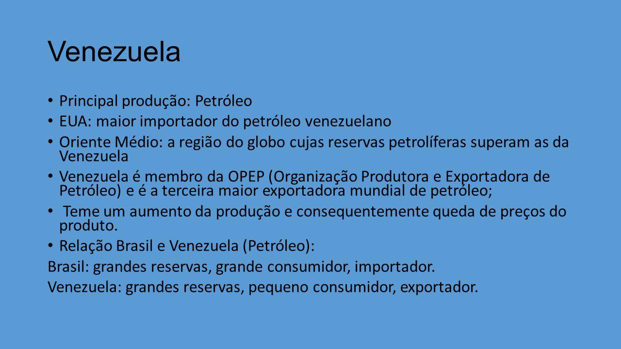 Venezuela Principal produção: Petróleo