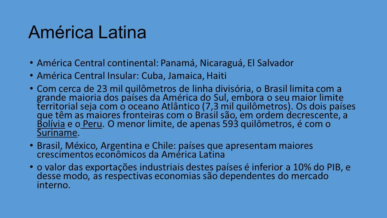 América Latina América Central continental: Panamá, Nicaraguá, El Salvador. América Central Insular: Cuba, Jamaica, Haiti.