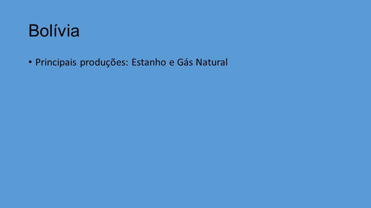 Bolívia Principais produções: Estanho e Gás Natural