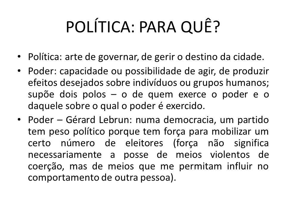 POLÍTICA: PARA QUÊ Política: arte de governar, de gerir o destino da cidade.