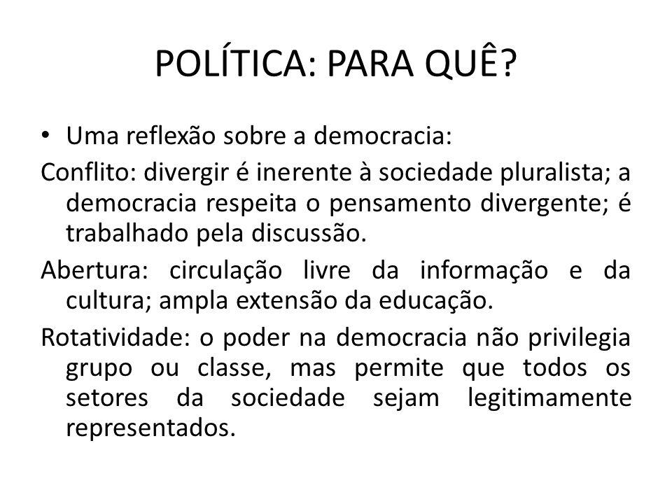 POLÍTICA: PARA QUÊ Uma reflexão sobre a democracia: