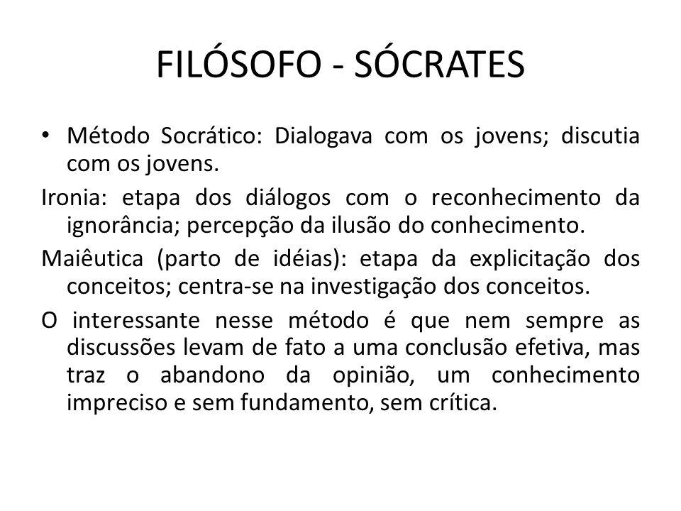 FILÓSOFO - SÓCRATES Método Socrático: Dialogava com os jovens; discutia com os jovens.