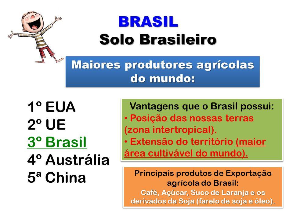BRASIL Solo Brasileiro 1º EUA 2º UE 3º Brasil 4º Austrália 5ª China