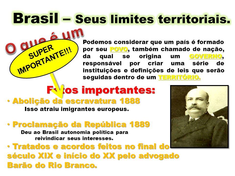 Brasil – Seus limites territoriais.