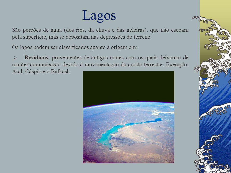Lagos São porções de água (dos rios, da chuva e das geleiras), que não escoam pela superfície, mas se depositam nas depressões do terreno.
