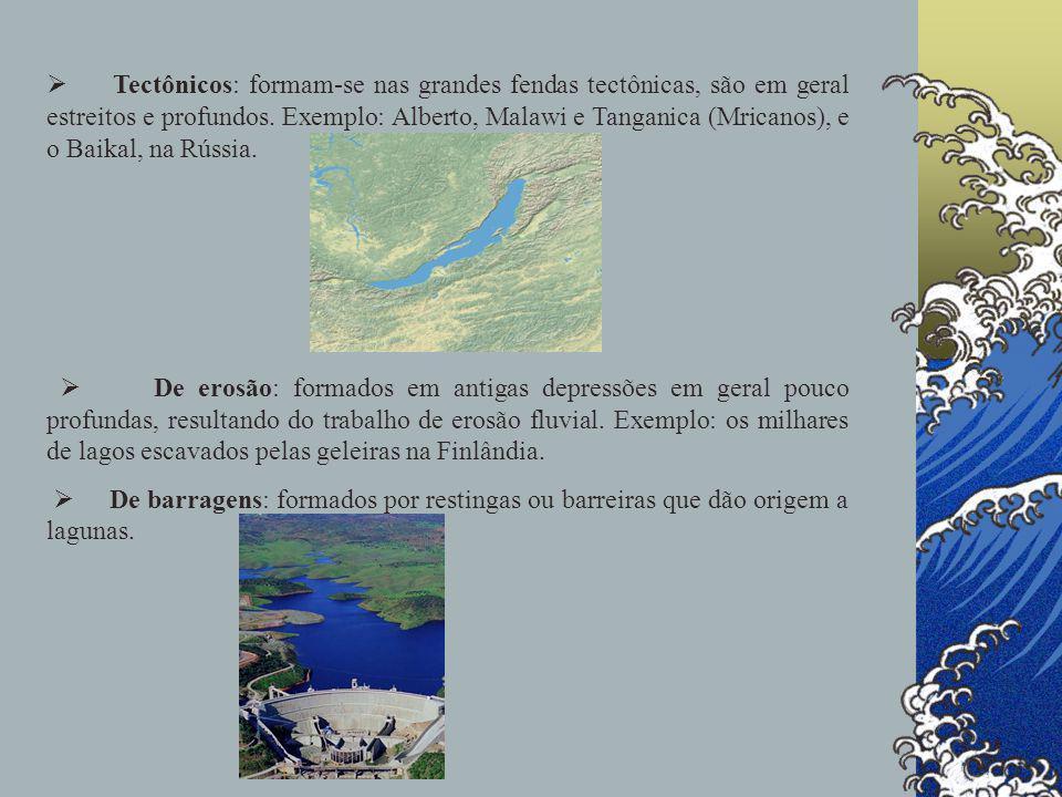 Ø Tectônicos: formam-se nas grandes fendas tectônicas, são em geral estreitos e profundos. Exemplo: Alberto, Malawi e Tanganica (Mricanos), e o Baikal, na Rússia.