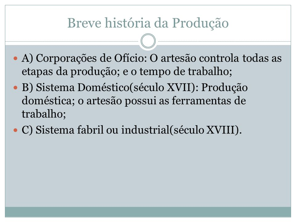 Breve história da Produção