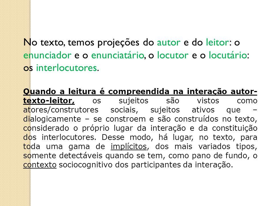 No texto, temos projeções do autor e do leitor: o enunciador e o enunciatário, o locutor e o locutário: os interlocutores.