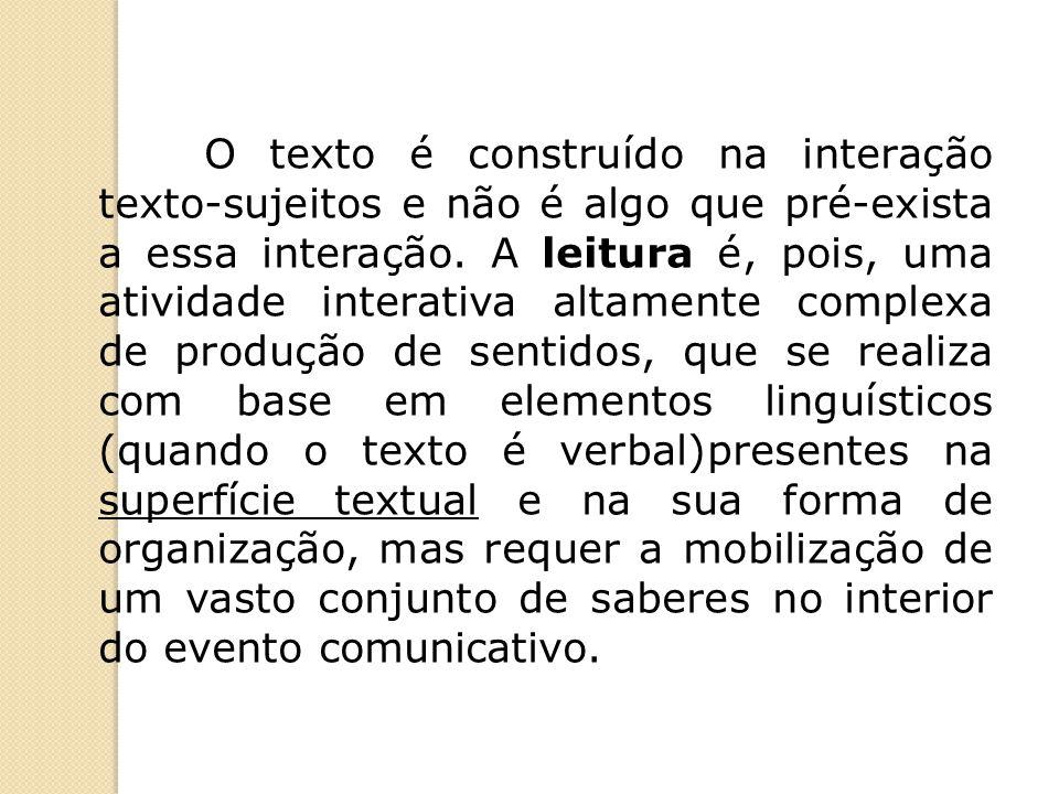 O texto é construído na interação texto-sujeitos e não é algo que pré-exista a essa interação.