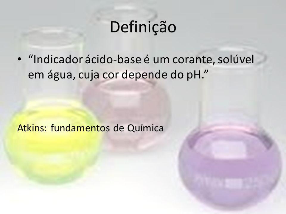Definição Indicador ácido-base é um corante, solúvel em água, cuja cor depende do pH. Atkins: fundamentos de Química.