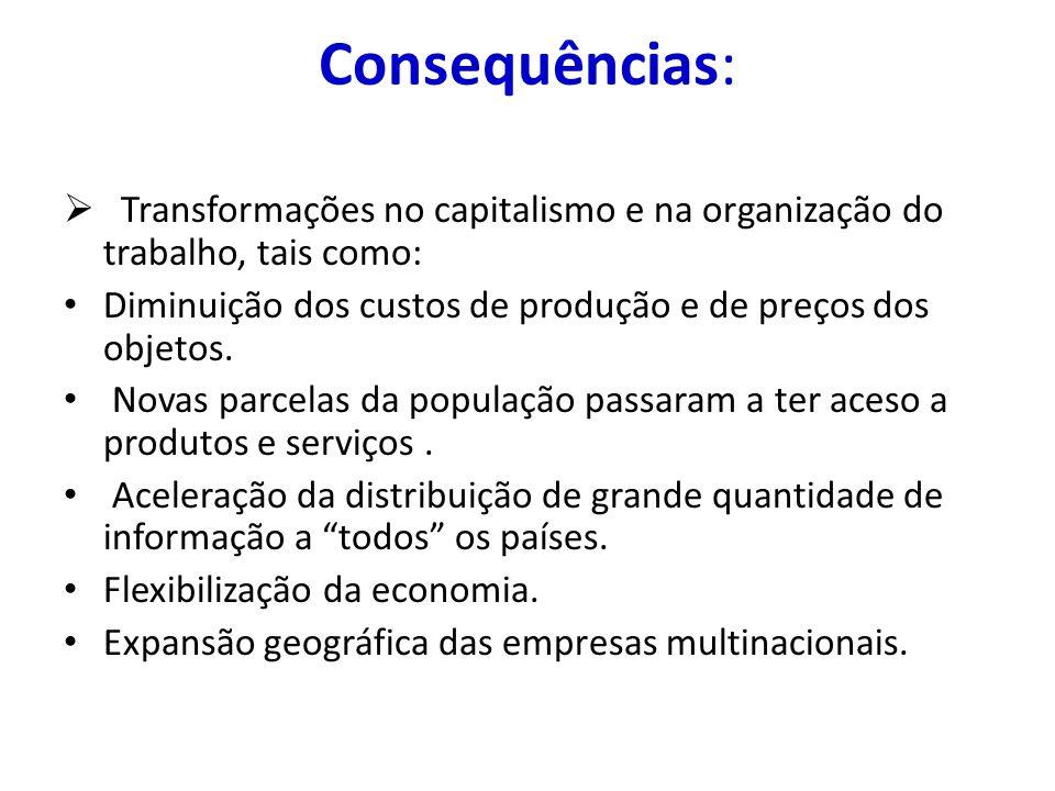Consequências: Transformações no capitalismo e na organização do trabalho, tais como: Diminuição dos custos de produção e de preços dos objetos.