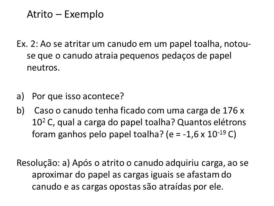 Atrito – Exemplo Ex. 2: Ao se atritar um canudo em um papel toalha, notou-se que o canudo atraia pequenos pedaços de papel neutros.