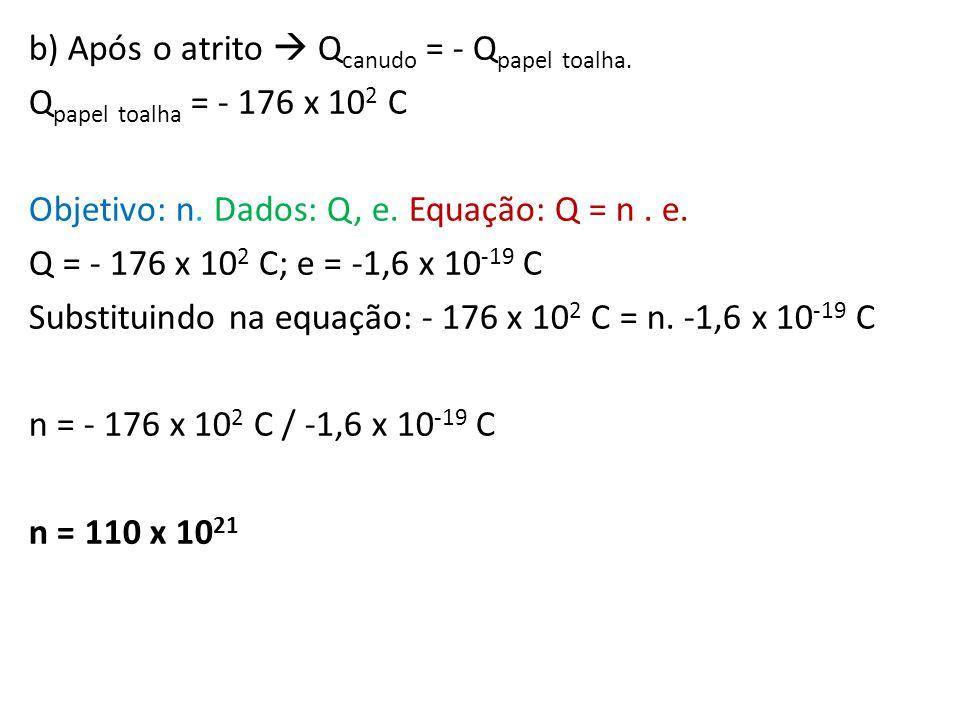 b) Após o atrito  Qcanudo = - Qpapel toalha