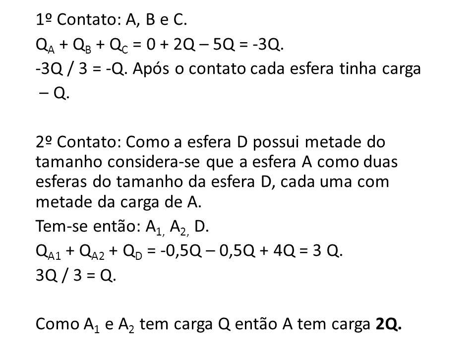 1º Contato: A, B e C. QA + QB + QC = 0 + 2Q – 5Q = -3Q.