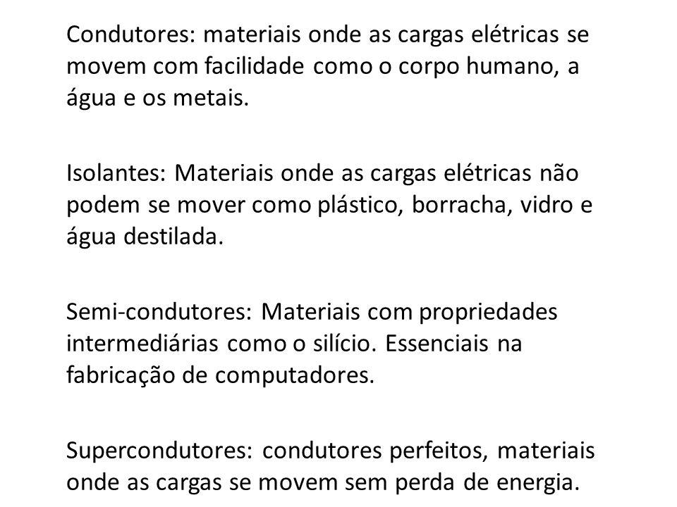 Condutores: materiais onde as cargas elétricas se movem com facilidade como o corpo humano, a água e os metais.