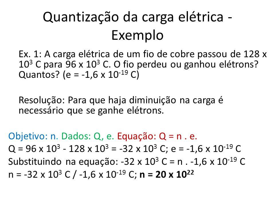 Quantização da carga elétrica - Exemplo