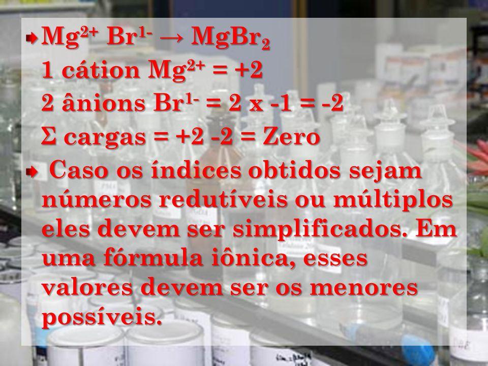 Mg2+ Br1- → MgBr2 1 cátion Mg2+ = +2. 2 ânions Br1- = 2 x -1 = -2. Σ cargas = +2 -2 = Zero.