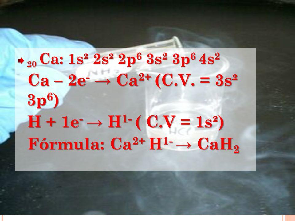 Ca – 2e- → Ca2+ (C.V. = 3s² 3p6) H + 1e- → H1- ( C.V = 1s²)