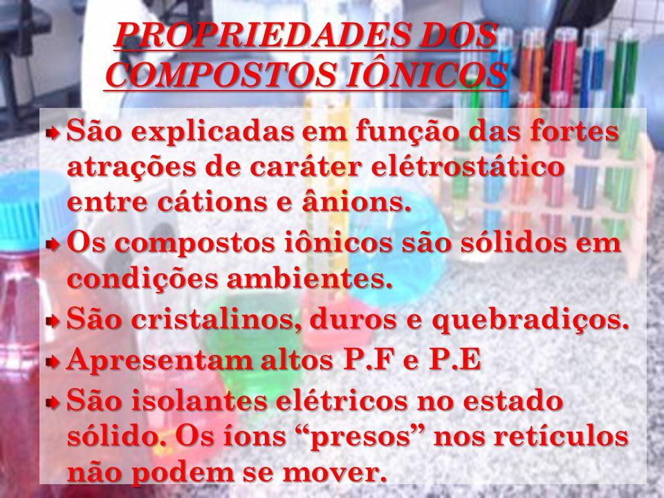 PROPRIEDADES DOS COMPOSTOS IÔNICOS