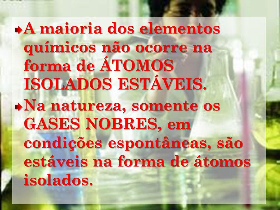 A maioria dos elementos químicos não ocorre na forma de ÁTOMOS ISOLADOS ESTÁVEIS.