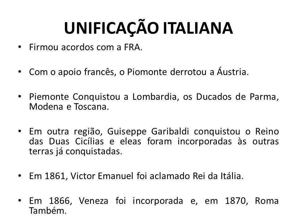 UNIFICAÇÃO ITALIANA Firmou acordos com a FRA.