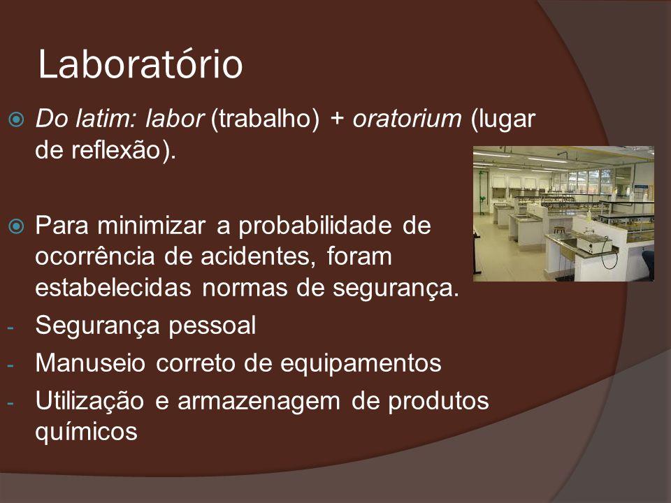 Laboratório Do latim: labor (trabalho) + oratorium (lugar de reflexão).