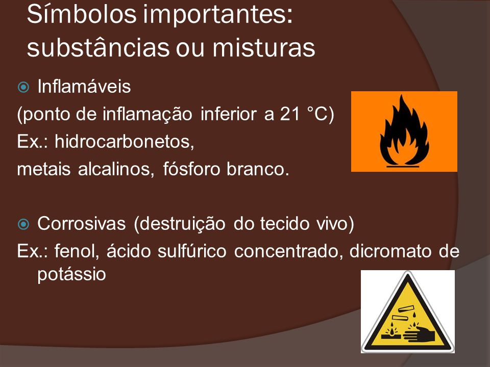 Símbolos importantes: substâncias ou misturas