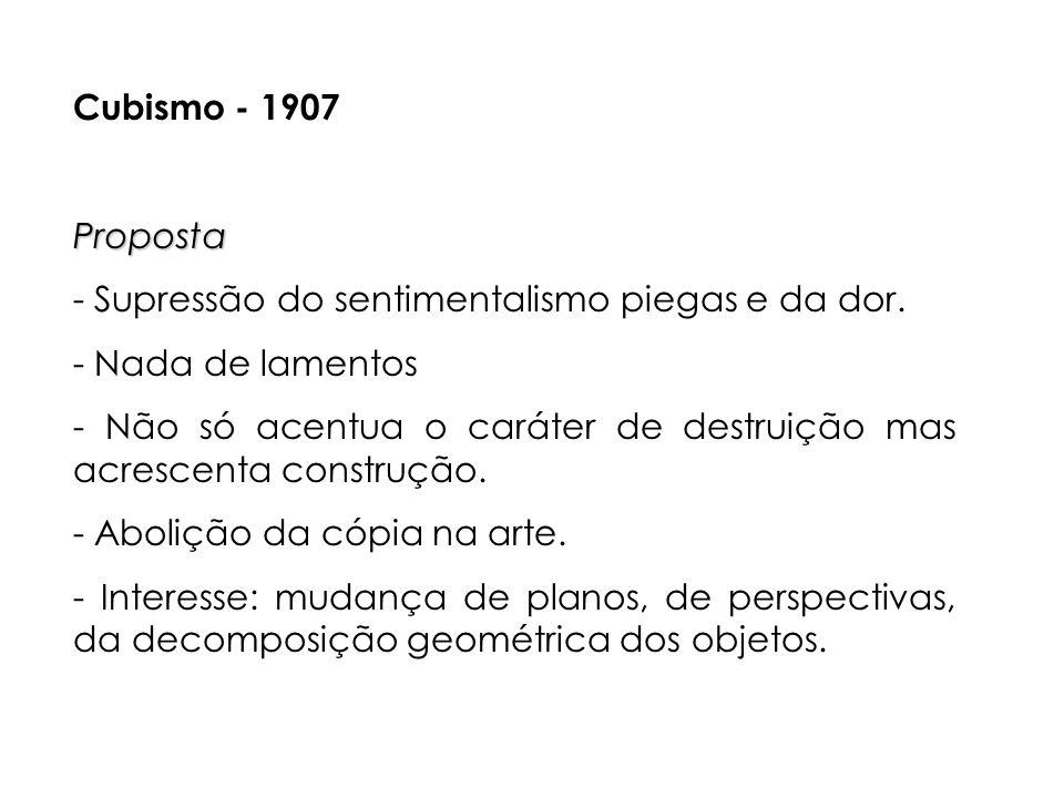 Cubismo - 1907 Proposta. - Supressão do sentimentalismo piegas e da dor. - Nada de lamentos.