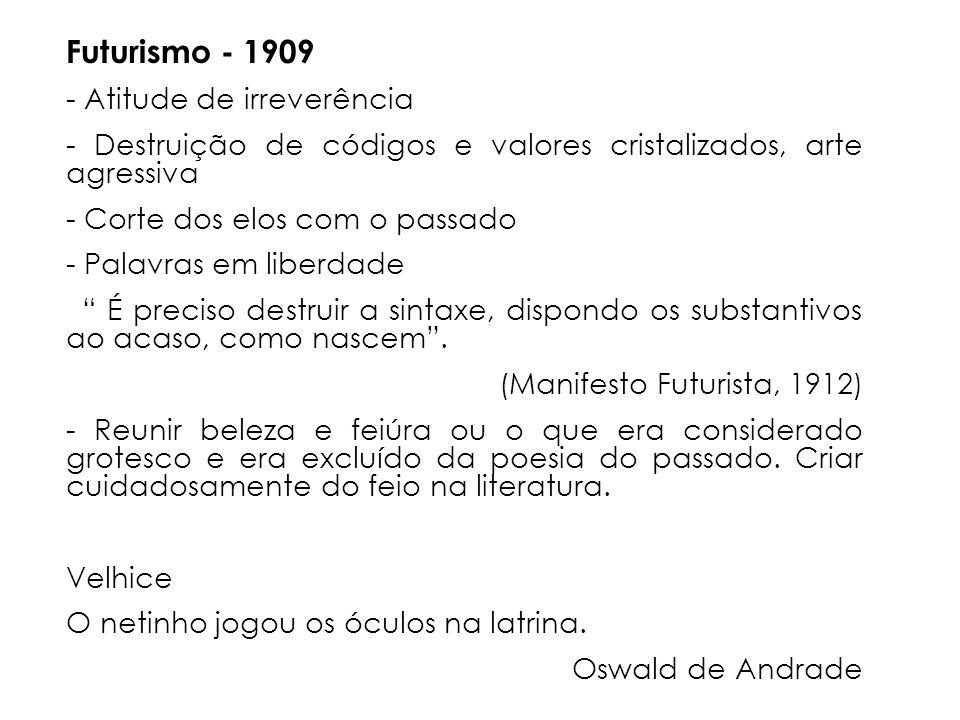 Futurismo - 1909 - Atitude de irreverência
