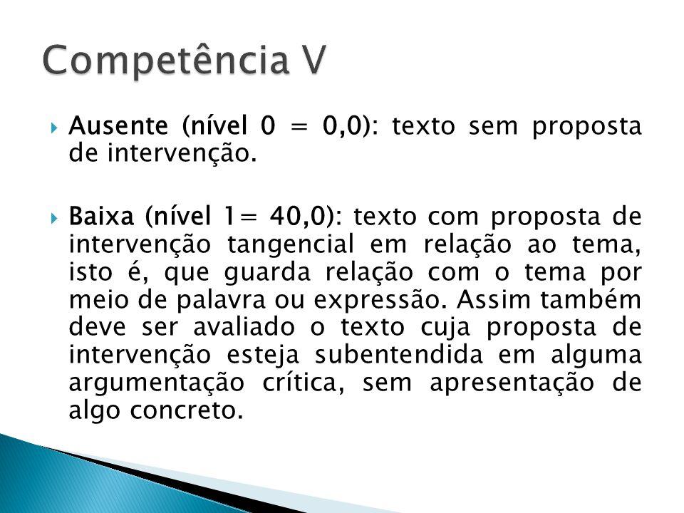 Competência V Ausente (nível 0 = 0,0): texto sem proposta de intervenção.