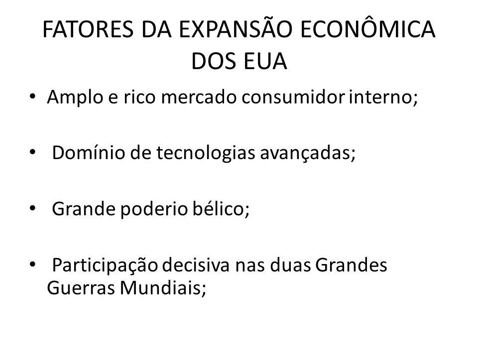 FATORES DA EXPANSÃO ECONÔMICA DOS EUA