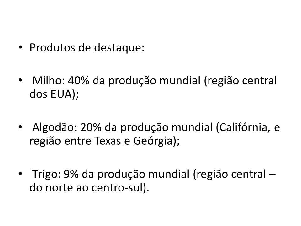 Produtos de destaque: Milho: 40% da produção mundial (região central dos EUA);