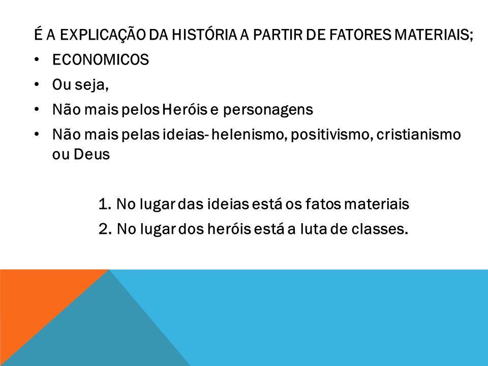 É A EXPLICAÇÃO DA HISTÓRIA A PARTIR DE FATORES MATERIAIS; ECONOMICOS