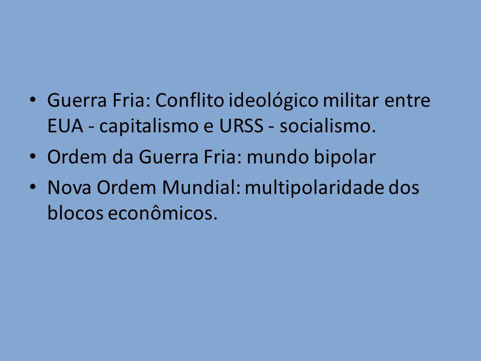 Guerra Fria: Conflito ideológico militar entre EUA - capitalismo e URSS - socialismo.