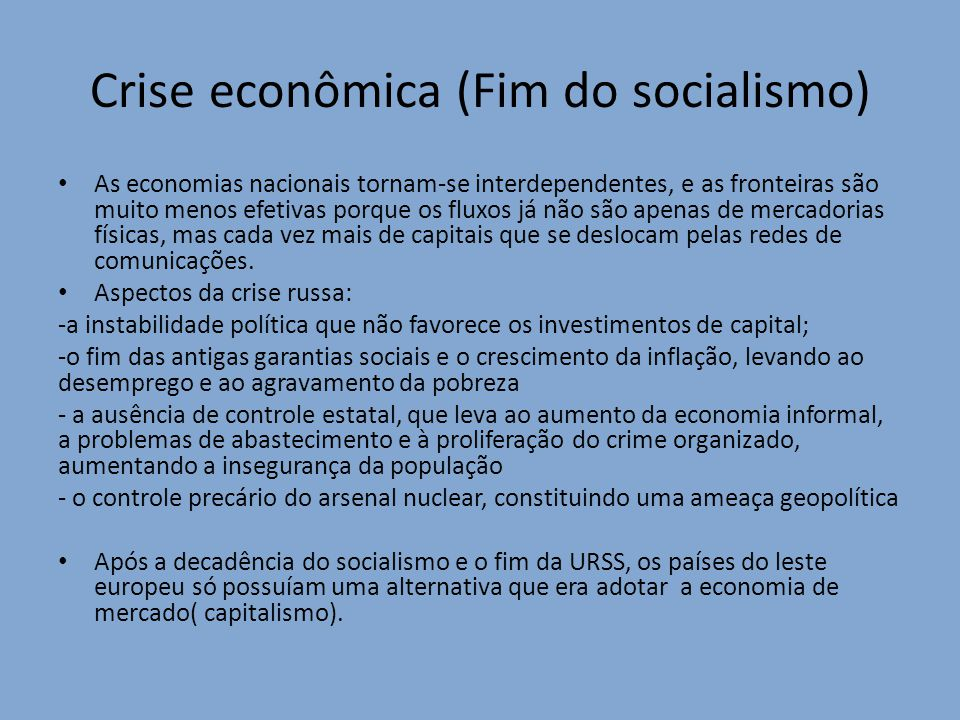 Crise econômica (Fim do socialismo)