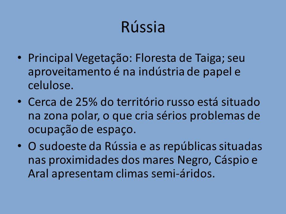 Rússia Principal Vegetação: Floresta de Taiga; seu aproveitamento é na indústria de papel e celulose.