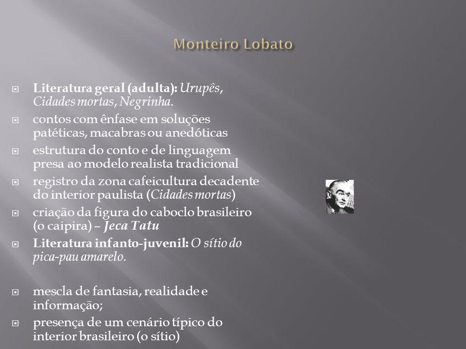 Monteiro Lobato Literatura geral (adulta): Urupês, Cidades mortas, Negrinha. contos com ênfase em soluções patéticas, macabras ou anedóticas.
