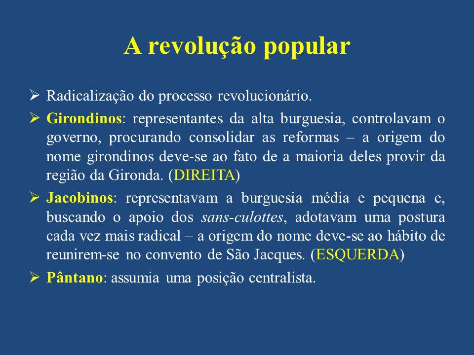 A revolução popular Radicalização do processo revolucionário.