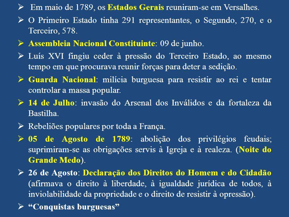 Em maio de 1789, os Estados Gerais reuniram-se em Versalhes.
